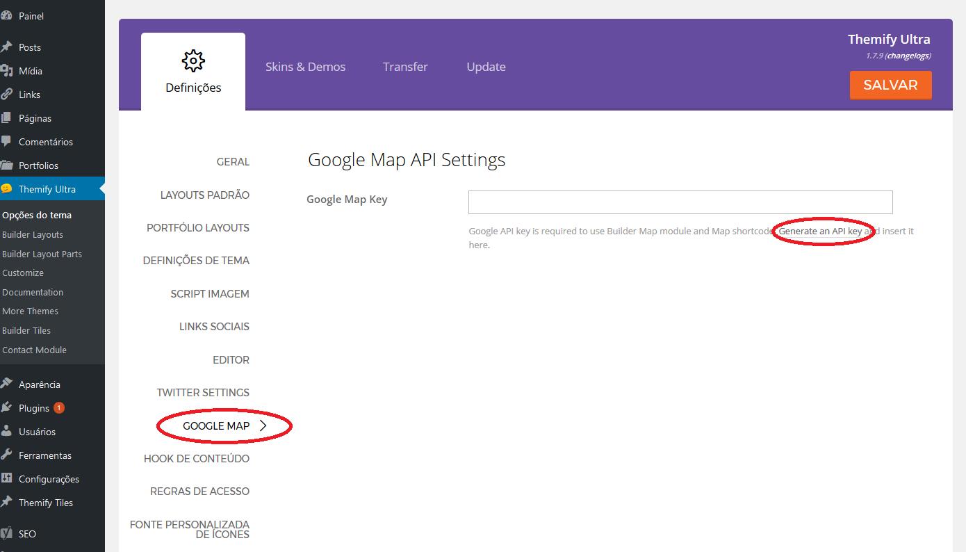 Inserindo chave de API para Google Map